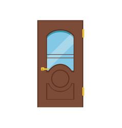 classic wooden door with glass closed elegant vector image