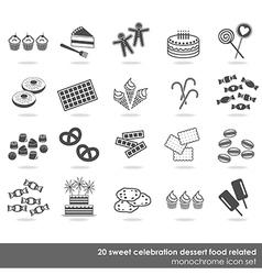 dessert food icon set vector image vector image