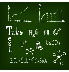 Different chemical elements on the blackboard vector image