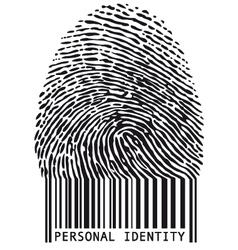 Fingerprint with bar code vector