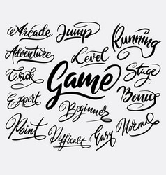 game and bonus hand written typography vector image vector image