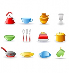 kitchen utensil icon set vector image vector image