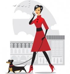 pretty girl walking the dog vector image vector image