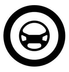 steering wheel the black color icon in circle or vector image