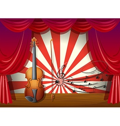A violin with musical notes at the stage vector image vector image