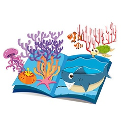 Book of underwater and sea animals vector image vector image