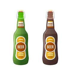 colored flat couple beer bottles lightning stopper vector image vector image