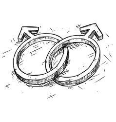 hand drawing male and male symbol vector image