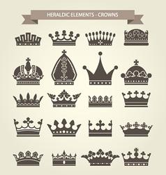 Heraldic symbols - royal crowns icon set vector image vector image