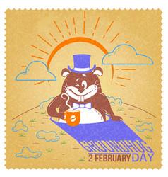retro happy groundhog day vector image vector image