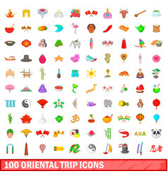 100 oriental trip icons set cartoon style vector image