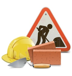 Construction Concept with Bricks and Trowel vector image vector image