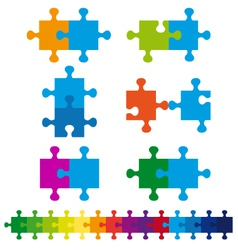 jigsaw puzzle set vector image vector image