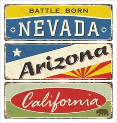 tin sign collection with USA state vector image