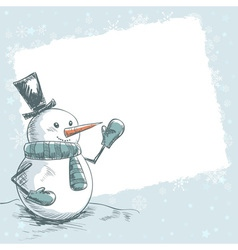 Vintage christmas card with smiling snowman vector image