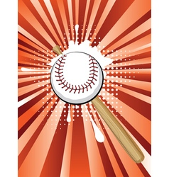 Baseball Ball on Background with Rays2 vector image vector image