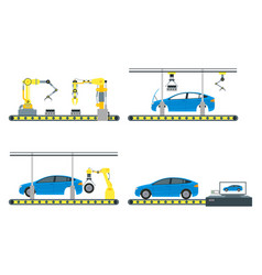cartoon automated machinery manufacturing color vector image vector image