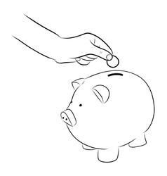 hand putting coins into saving piggy bank vector image