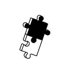 pieces puzzle solution monochrome vector image vector image