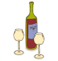 Red wine and two wineglasses vector image