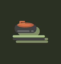stone for curling sport game in sticker style vector image