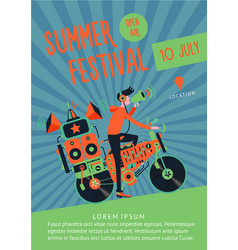 summer festival music poster template with dj and vector image vector image