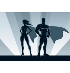superhero couple vector image vector image