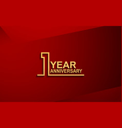 1 year anniversary line style design golden color vector