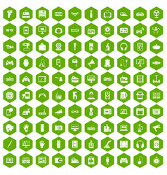 100 device app icons hexagon green vector