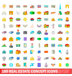 100 real estate concept icons set cartoon style vector image