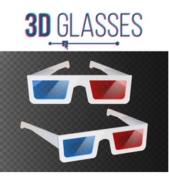 3d glasses red blue stereoscopic paper vector image