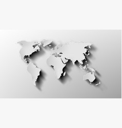 3d white paper world map with shadow vector image