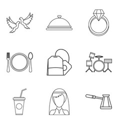 alcohol icons set outline style vector image