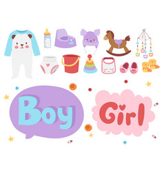 Baby toys icons cartoon family kid toyshop design vector