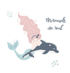 baprint with cute mermaid hand drawn graphic vector image