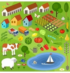 Big set of rural farmer elements vector