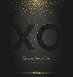 Black xo paper cut falling golden confetti vector
