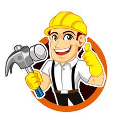 builder worker logo mascot cartoon vector image