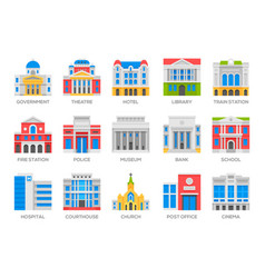Buildings architecture flat icons vector