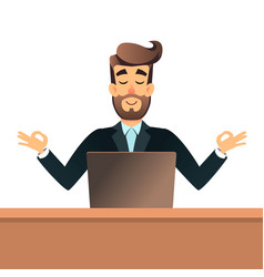 Businessman meditating in lotus pose for table in vector