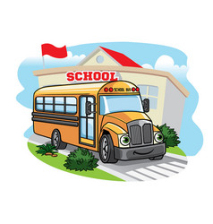 Cartoon school bus t the school vector