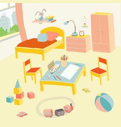 Children s bedroom interior with furniture and vector