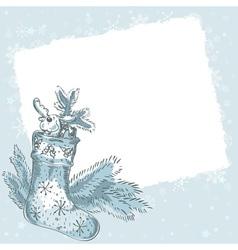 Christmas hand drawn postcard with xmas stocking vector