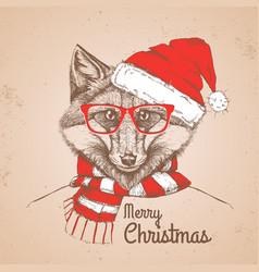 christmas hipster fashion animal fox vector image