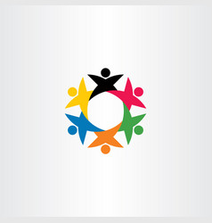circle team people teamwork logo icon friend vector image