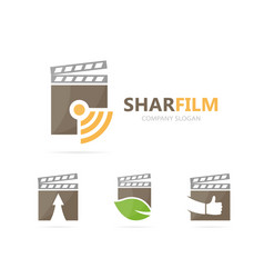 Clapperboard and wifi logo combination vector