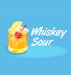 Cocktails whiskey sour vector
