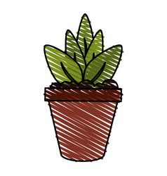 color crayon stripe cartoon plant in pot vector image