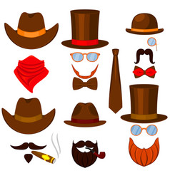 colorful cartoon 6 western man avatars set vector image