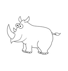 colorless cartoon rhinocerus vector image